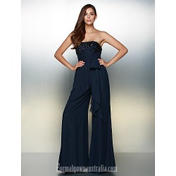 Australia Formal Dress Evening Gowns Dark Navy A Line Strapless Long Floor Length Chiffon