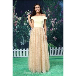 A-line Australia Formal Dress Evening Gowns Champagne Long Floor-length Off-the-shoulder Lace Satin