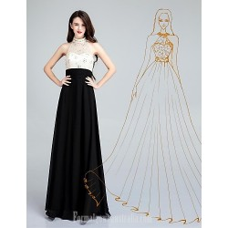 Australia Formal Dress Evening Gowns Ivory A-line High Neck Long Floor-length Chiffon