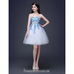 Australia Formal Dresses Cocktail Dress Party Dress Multi-color Plus Sizes Dresses Petite A-line Princess Bateau Strapless Short Knee-length Lace Tulle
