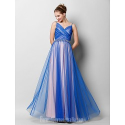 Australia Formal Dress Evening Gowns Royal Blue A-line Spaghetti Straps Long Floor-length Tulle Dress