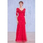 Australia Formal Dress Evening Gowns Fuchsia Ball Gown V-neck Long Floor-length Lace Dress Sequined Formal Dress Australia