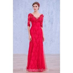 Australia Formal Dress Evening Gowns Fuchsia Ball Gown V-neck Long Floor-length Lace Dress Sequined