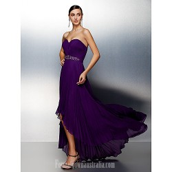 Australia Formal Evening Dress Grape Plus Sizes Dresses Petite A-line Sweetheart Asymmetrical Chiffon