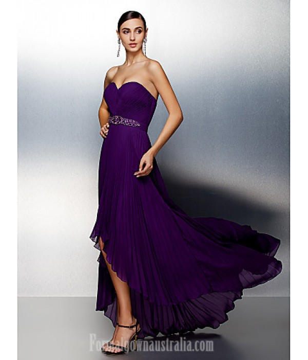 Australia Formal Dress Evening Gowns Grape Plus Sizes Dresses Petite A-line Sweetheart Asymmetrical Chiffon Formal Dress Australia