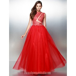 Australia Formal Dress Evening Gowns Ruby A-line Jewel Long Floor-length Lace Dress Tulle
