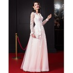 Australia Formal Dress Evening Dress-Pearl Pink A-line V-neck Long Floor-length Chiffon Tulle Formal Dress Australia