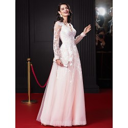 Australia Formal Dress Evening Dress-Pearl Pink A-line V-neck Long Floor-length Chiffon Tulle