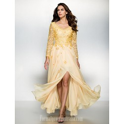 Australia Formal Dress Evening Gowns Daffodil A-line V-neck Long Floor-length Chiffon Lace