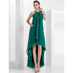 Australia Formal Evening Dress Dark Green Plus Sizes Dresses Petite A-line Princess Halter Asymmetrical Short Knee-length Chiffon