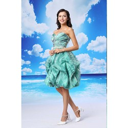 Australia Formal Dresses Cocktail Dress Party Dress Multi-color Ball Gown Sweetheart Short Knee-length Organza Satin