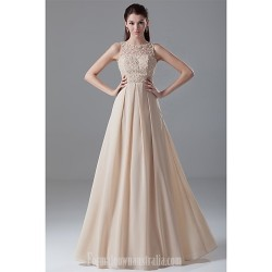Australia Formal Dress Evening Gowns Champagne A-line Jewel Long Floor-length Chiffon Lace