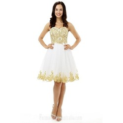Australia Formal Dresses Cocktail Dress Party Dress White A-line Sweetheart Short Knee-length Tulle