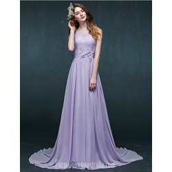 Australia Formal Dress Evening Gowns Lavender A-line Bateau Court Train Chiffon