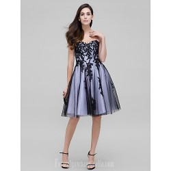 Australia Cocktail Party Dress Black A-line Sweetheart Short Knee-length Tulle