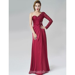Australia Formal Dress Evening Gowns Burgundy A-line Sexy One Shoulder Long Floor-length Satin