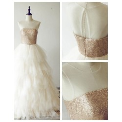 Australia Formal Dress Evening Gowns Champagne A-line Scoop Long Floor-length Tulle Dress Sequined