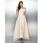 Australia Formal Dress Evening Gowns Ivory A-line Off-the-shoulder Ankle-length Lace Formal Dress Australia