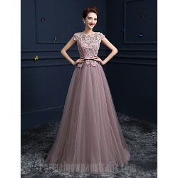 Australia Formal Dress Evening Gowns Blushing Pink Ball Gown Jewel Long Floor Length Lace Dress Satin Tulle