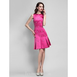 Australia Cocktail Party Dress Fuchsia Plus Sizes Dresses Petite A-line Jewel Short Knee-length Satin