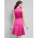 Australia Formal Dresses Cocktail Dress Party Dress Fuchsia Plus Sizes Dresses Petite A-line Jewel Short Knee-length Satin Formal Dress Australia