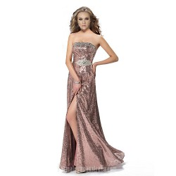 Australia Formal Dress Evening Gowns Candy Pink A-line Strapless Long Floor-length Sequined