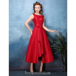 Australia Formal Dresses Cocktail Dress Party Dress Ruby Silver A-line Jewel Tea-length Polyester Satin Chiffon