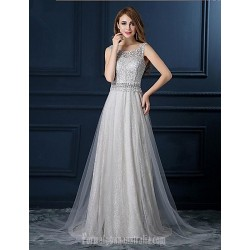 Australia Formal Dress Evening Gowns Silver A Line Scoop Long Floor Length Lace Dress