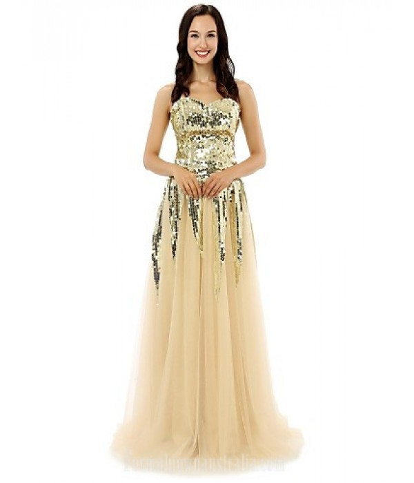 Australia Formal Dress Evening Gowns Champagne A-line Sweetheart Long Floor-length Tulle Dress Formal Dress Australia