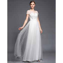 Australia Formal Dress Evening Gowns Ivory A-line Bateau Long Floor-length Tulle Dress Charmeuse Satin Chiffon