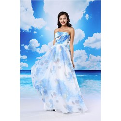 A-line Australia Formal Evening Dress Pool White Long Floor-length Strapless Organza Satin