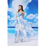 A-line Australia Formal Dress Evening Gowns Pool White Long Floor-length Strapless Organza Satin Formal Dress Australia