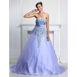 Prom Gowns Australia Formal Dress Evening Gowns Quinceanera Sweet 16 Dress Lavender Plus Sizes Dresses Petite A-line Ball Gown Strapless Court Train Organza