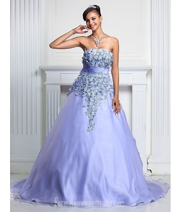 Prom Gowns Australia Formal Dress Evening Gowns Quinceanera Sweet 16 Dress Lavender Plus Sizes Dresses Petite A-line Ball Gown Strapless Court Train Organza Formal Dress Australia