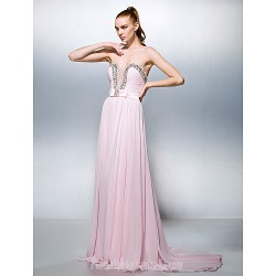 Australia Formal Dress Evening Gowns Blushing Pink Plus Sizes Dresses Petite A-line Princess Sweetheart Court Train Georgette