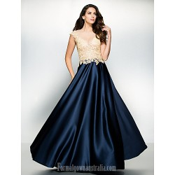 Australia Formal Dress Evening Gowns Multi-color A-line Scoop Long Floor-length Satin Tulle