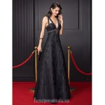 Australia Formal Dress Evening Dress-Black A-line V-neck Long Floor-length Lace Dress Formal Dress Australia