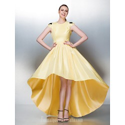 Dress Daffodil Plus Sizes Dresses Petite A-line Jewel Asymmetrical Taffeta