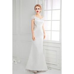 Australia Formal Dress Evening Gowns Ivory A-line V-neck Long Floor-length Lace Dress Satin