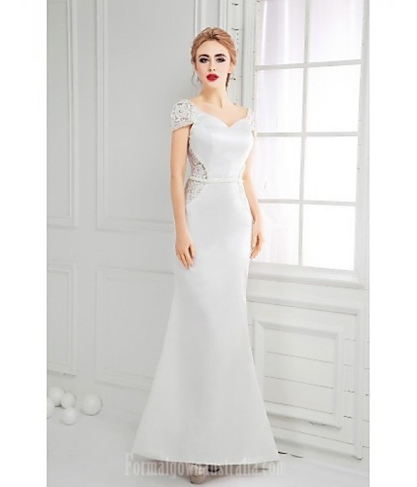 Australia Formal Dress Evening Gowns Ivory A-line V-neck Long Floor-length Lace Dress Satin Formal Dress Australia