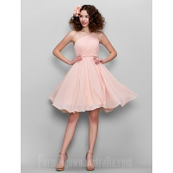 Honeymoon Australia Formal Dresses Cocktail Dress Party Dress Australia Formal Dress Evening Gowns Sweet 16 Dress Blushing Pink Plus Sizes Dresses Petite A Line Sexy One Shoulder Short Knee Length Chiffon