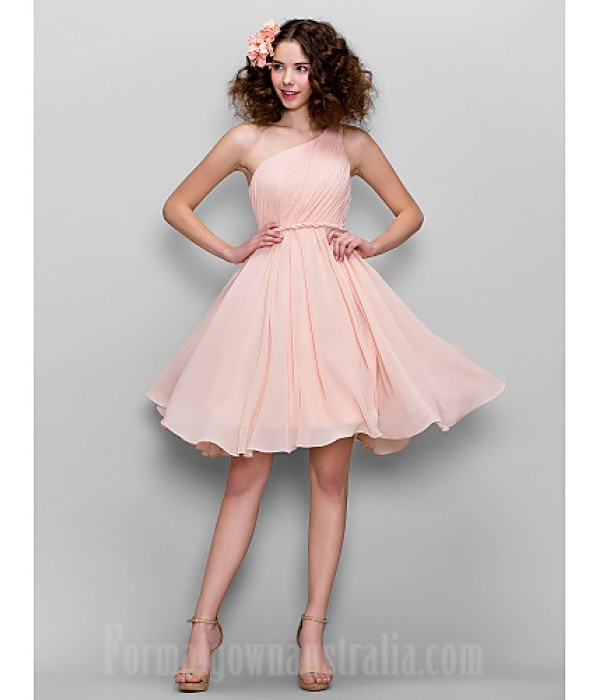 Honeymoon Australia Formal Dresses Cocktail Dress Party Dress Australia Formal Dress Evening Gowns Sweet 16 Dress Blushing Pink Plus Sizes Dresses Petite A-line Sexy One Shoulder Short Knee-length Chiffon Formal Dress Australia