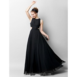 Australia Formal Dress Evening Gowns Black A-line Jewel Long Floor-length Chiffon