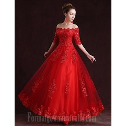 Australia Formal Evening Dress Ruby A-line Off-the-shoulder Long Floor-length Satin