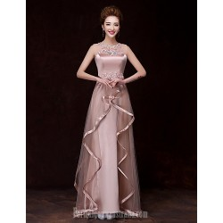 Australia Formal Dress Evening Gowns Champagne A-line Bateau Long Floor-length Satin