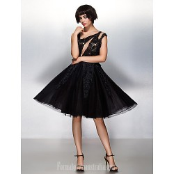 Australia Formal Dresses Cocktail Dress Party Dress Black A-line Scoop Short Knee-length Lace Tulle