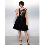 Australia Formal Dresses Cocktail Dress Party Dress Black A-line Scoop Short Knee-length Lace Tulle Formal Dress Australia