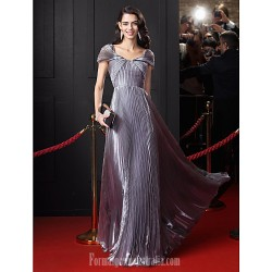 Australia Formal Dress Evening Dress-Silver A-line Off-the-shoulder Long Floor-length Organza