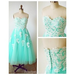 Australia Formal Dresses Cocktail Dress Party Dress Sage A-line Sweetheart Tea-length Tulle