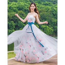 Australia Formal Evening Dress Blushing Pink Ball Gown Strapless Long Floor-length Tulle Dress Charmeuse